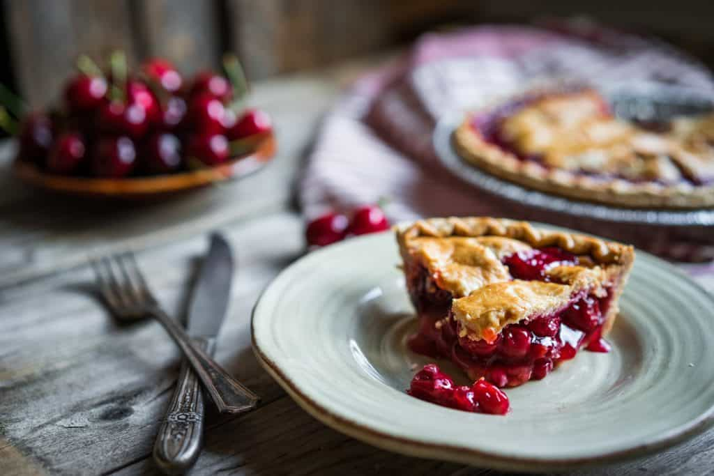 Cherry Pie on a plate - perfect flaky pie crust