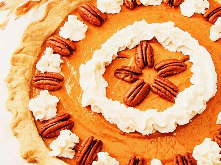 gluten free pumpkin pie, whole pie, overhead photo