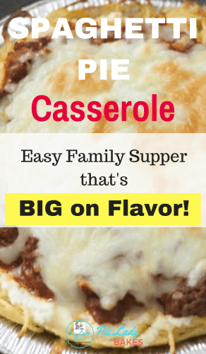 mini spaghetti pie casserole easy family supper that's big on flavour text over top images of spaghetti pie