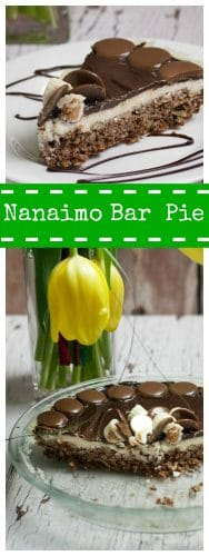 two images of nanaimo bar pie in white lettering on a green background shows yellow tulips in background