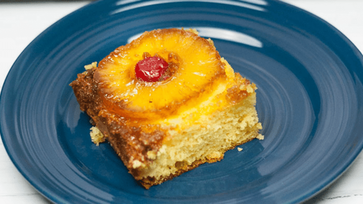 This is the Best Pineapple Upside Down Cake and the recipe is one of the easiest cakes to bake, full of butter, brown sugar & sweet pineapple goodness! It takes no time at all!