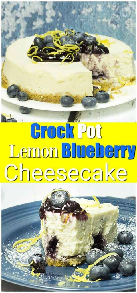 top image lemon blueberry cheesecake with slice removed, bottom image slice of lemon blueberry cheesecake with bite taken