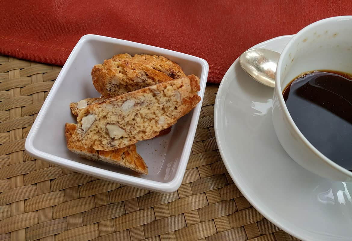 coffee and cantucci toscani at castello del nero, italy