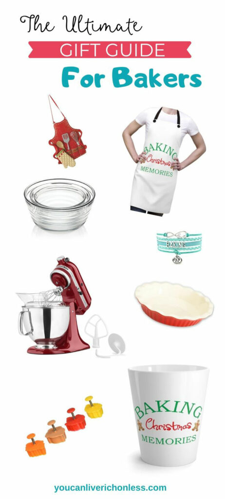 the ultimate gift guide for bakers shows a collection of baking equipment, aprons, tshirts, and collectibles