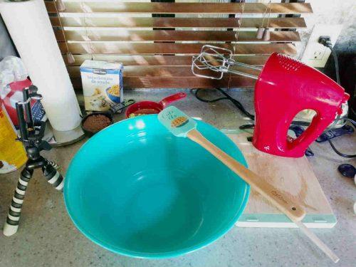 mixing bowl, spatula, mix master in my tiny RV kitchen