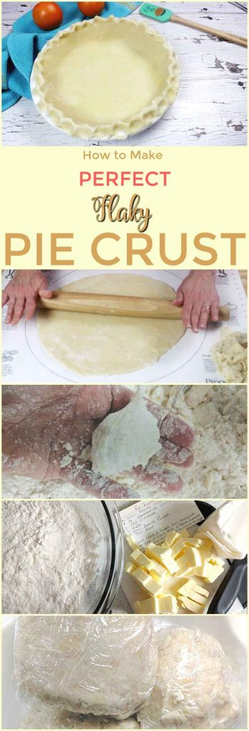 five pictures, one rolling pin on pie crust, top picture is finished pie crust ready to bake, perfect flaky pie crust