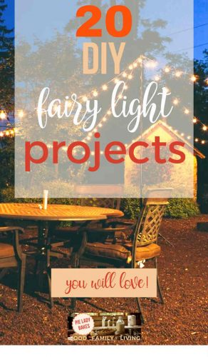 20 DIY fairy light projects you will love text over a white background overlays image of backyard patio with lots of string lights, table and chairs with small garden shed