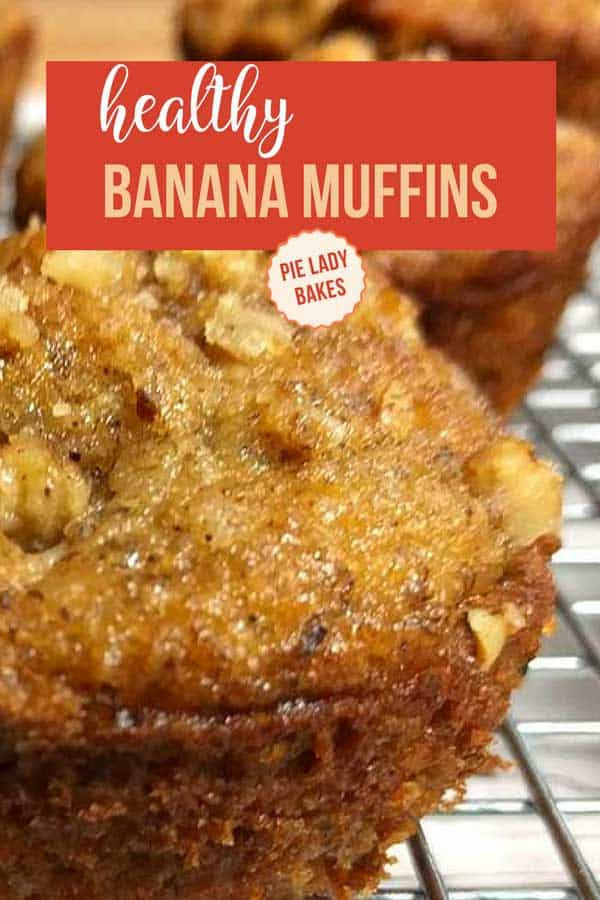 stack of paleo banana muffins with text