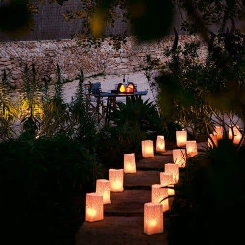 white paper lanterns line a path leading through a garden