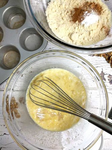 flours and wet ingredient batter for banana muffins