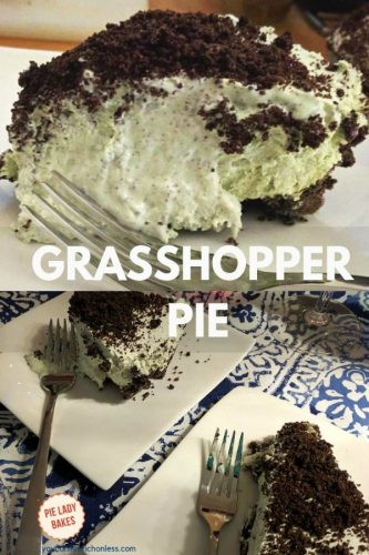 two images of grasshopper pie, one closeup slice of pie on a white plate, the bottom two pieces of pie on white plates with forks on a blue and white patterned tablecloth