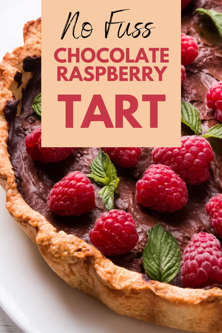 overhead shot of chocolate raspberry tart with mint leaves, text reads No Fuss Chocolate Raspberry Tart