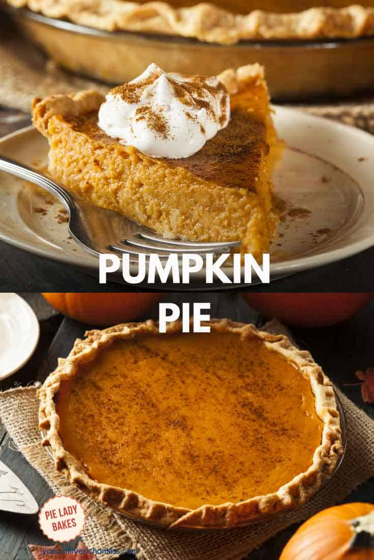 slice of pumpkin pie and picture of a whole pumpkin pie