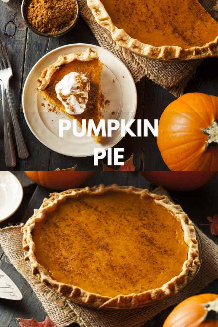 slice of pumpkin pie on white plate, whole pumpkin pie in front and small pumpkins