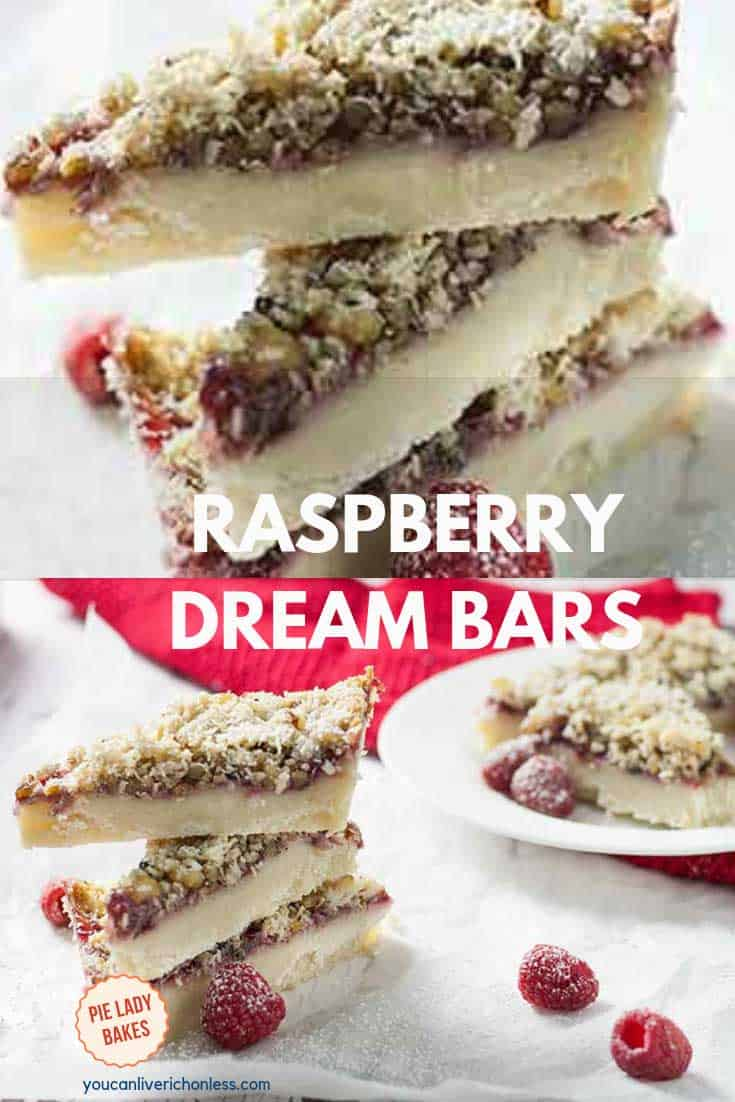 stack of raspberry dream bars cut in triangles
