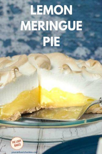 lemon meringue pie with piece removed and pie server