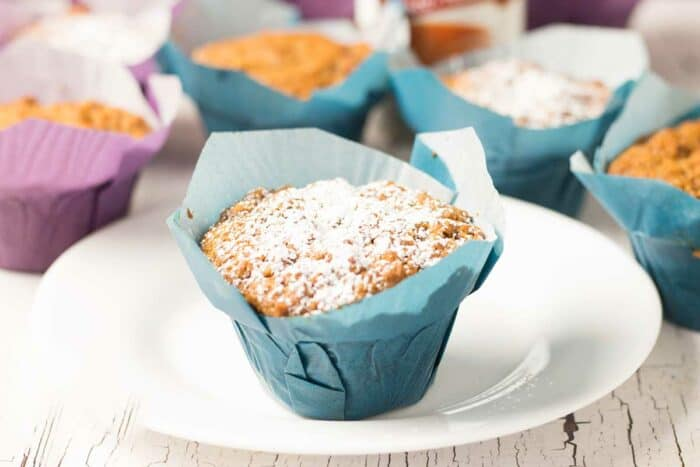 tomato soup spice cake muffins dusted in powdered sugar