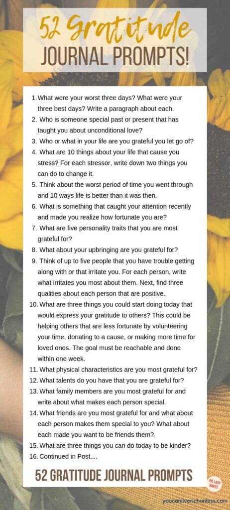 gratitude journal prompts sunflower background with list of 15 prompts on white square shows rest of prompts in post