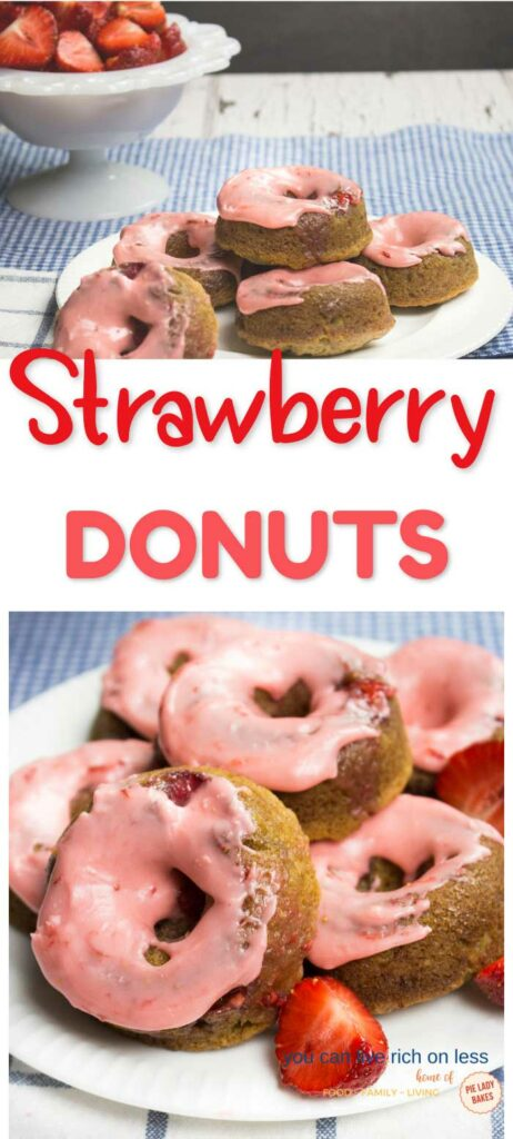 two pictures of strawberry glazed donuts on white plates with blue gingham table mat and fresh strawberries