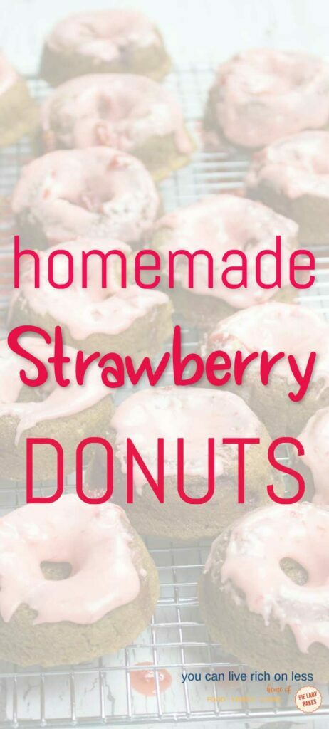 strawberry donuts with pink glaze on a baking rack with white overlay and red text that reads homemade strawberry donuts