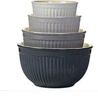 Denmark 4-Piece Ceramic Mixing Bowl Set in Grey