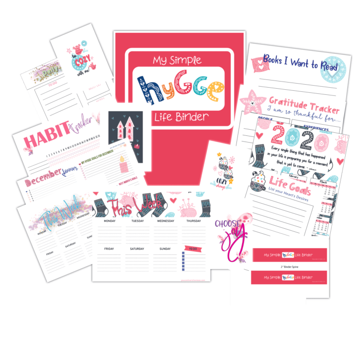 simple hygge life binder collection