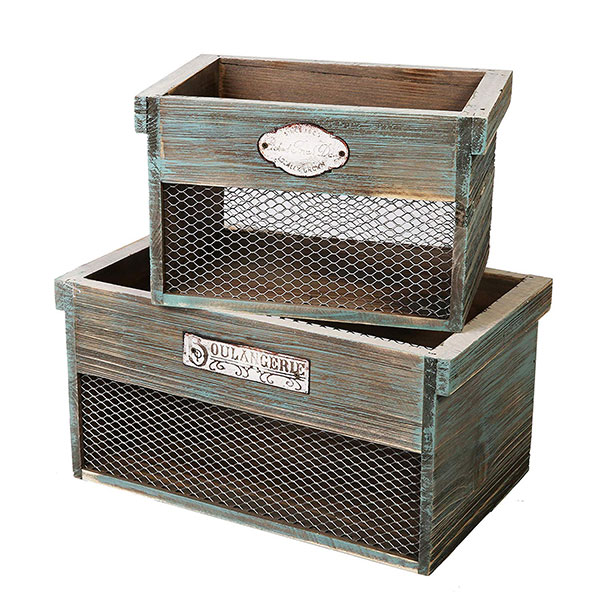distressed wood and wire storage baskets with metal sign attached in two sizes
