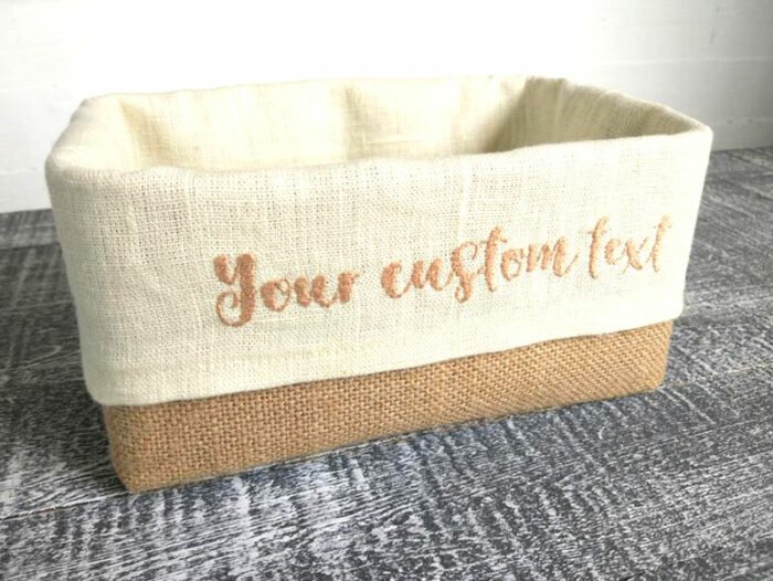 seagrass basket with linen liner that says 'your custom text""