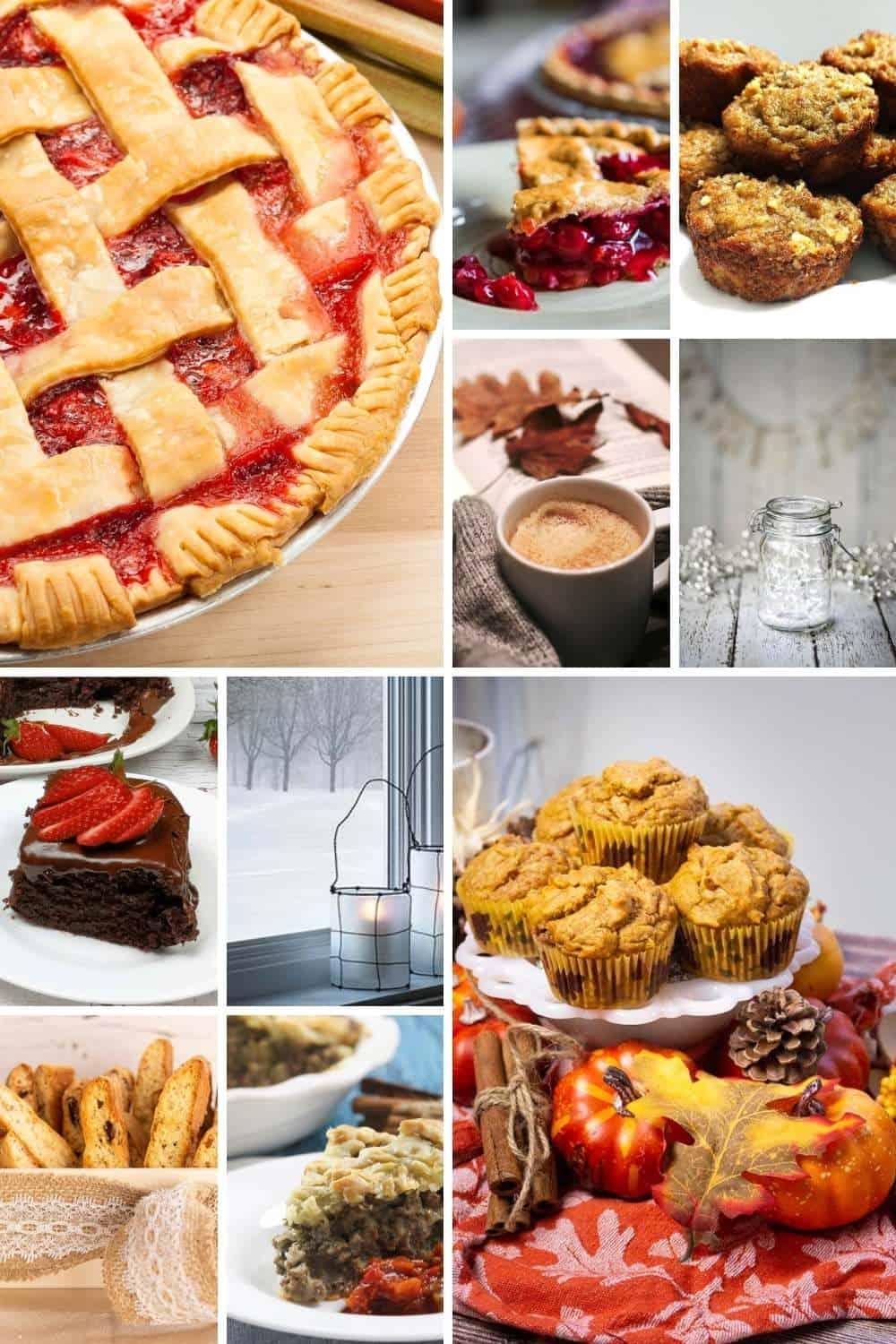 carousel of top posts for 2020 includes pies, muffins, coffee mugs, fairy lights, candles, tourtiere