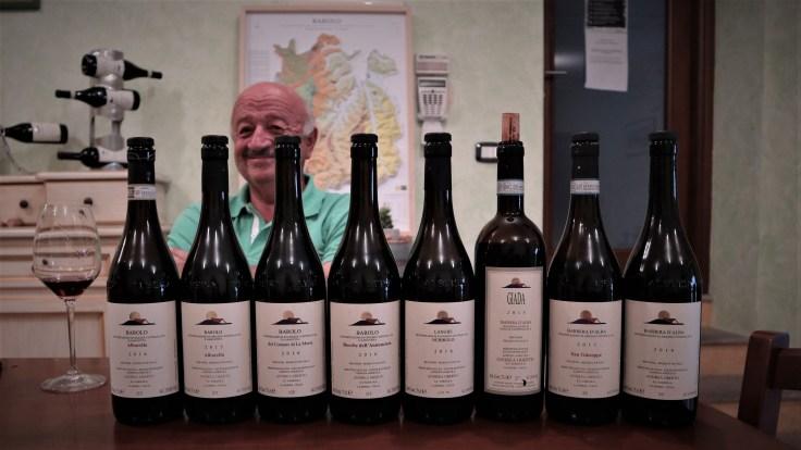 Andrea Oberto behind his wines