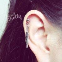 Feather dangle cartilage earring, helix earring, 20g 16g