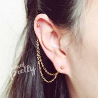 chain earrings cartilage to ear helix to lobe chain