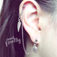 Helix to Lobe chain earring, Leaf Feather dangle chain