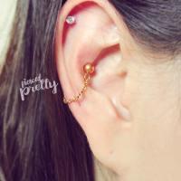 Conch chain earring, conch hoop earring, helix earring ...