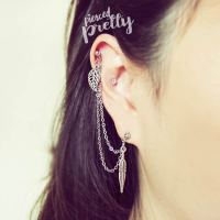 Leaf & Feather helix to lobe chain earring, 20g dangle ...