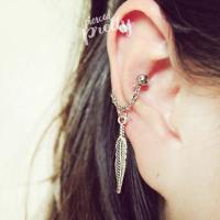 Feather conch chain earring, conch hoop earring, helix ...