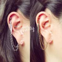 Helix to lobe feather & pink rose chain earring, helix ...