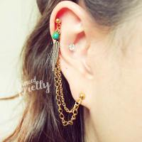 Helix to lobe feather & natural lapis chain earring, helix ...
