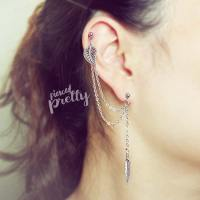 Leaf & Feather helix to lobe double chain earring, 20g ...