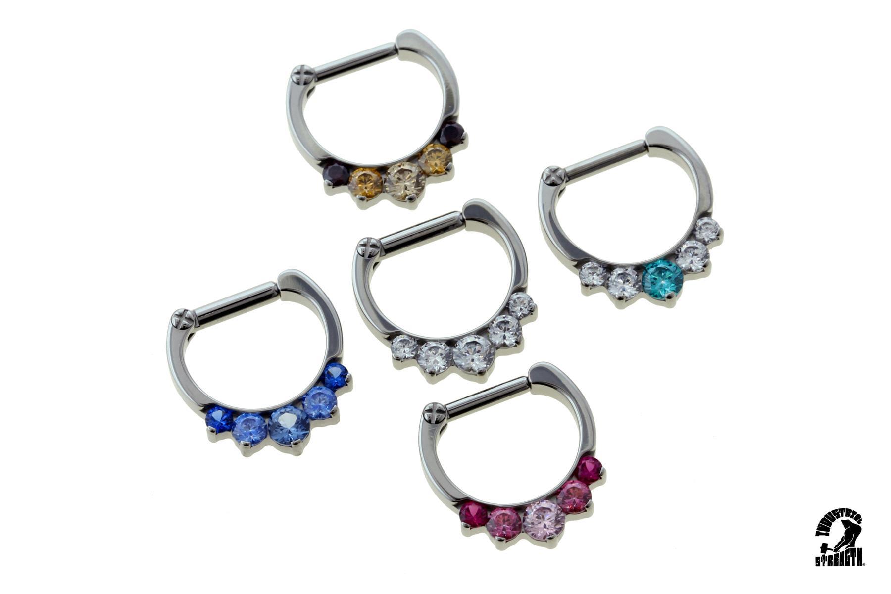 Odyssey prong-set faceted gem septum clicker #6, 14g