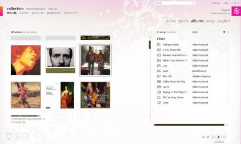 Zune Media Player Software Screen