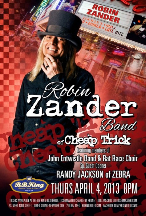 Poster - Robin Zander at BB Kings - 2013