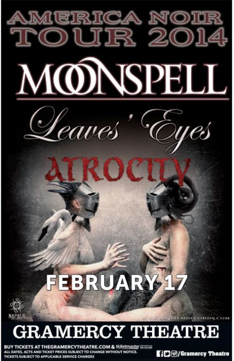 Poster - Moonspell at Gramercy - 2014