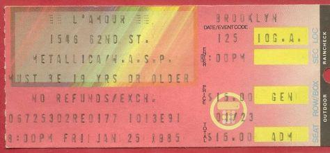Ticket - Metallica - 1985, metallica 1985 concert ticket, wasp 1985 concert ticket,