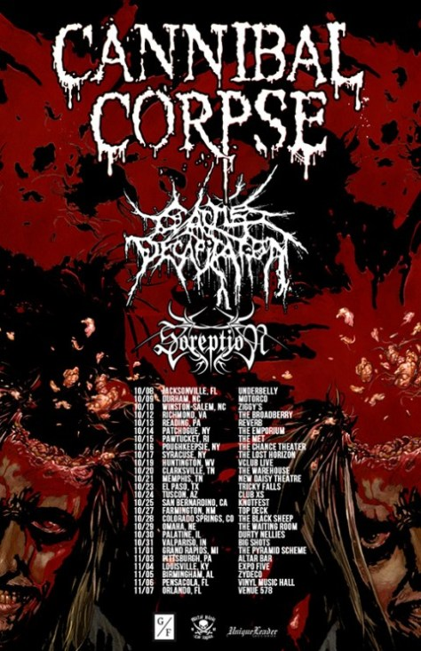 Tour - Cannibal Corpse - Fall 2015