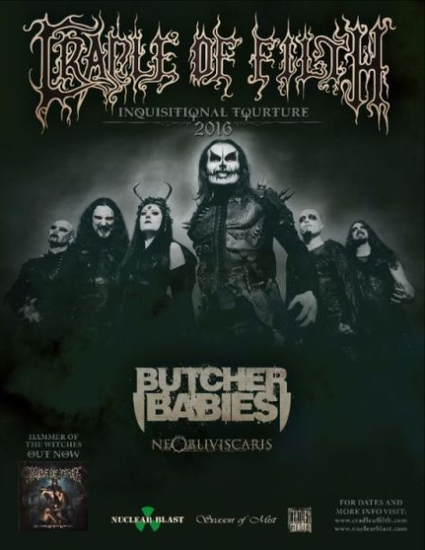 Tour - Cradle Of Filth - 2016
