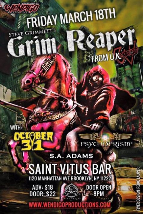 Poster - Steve Grimmetts Grim Reaper at Saint Vitus Bar - 2016