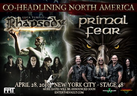 Poster - Luca Turilli Rhapsody - Primal Fear at Stage 48 - 2016