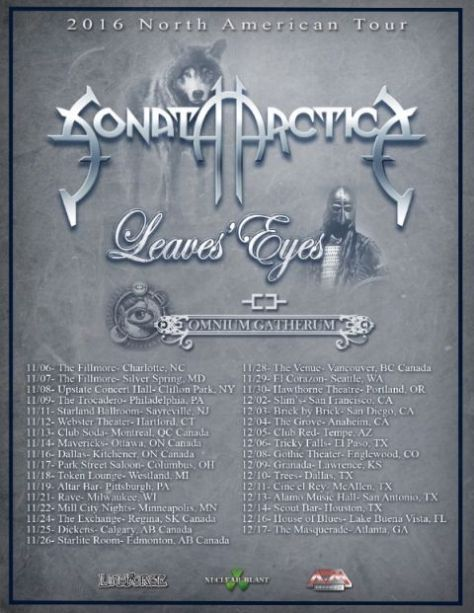 Tour - Sonata Arctica - Fall 2016