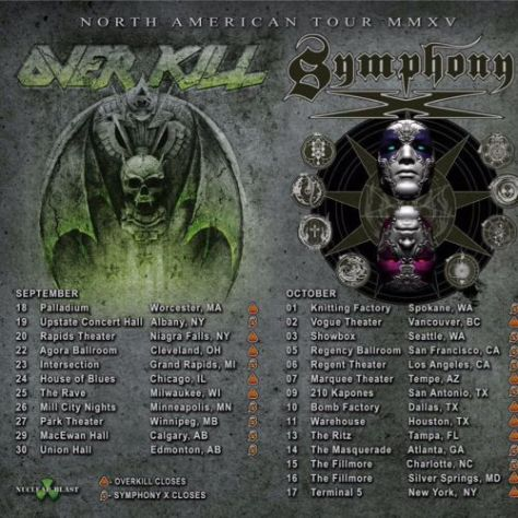 Tour - Symphony X Overkill - Fall 2015